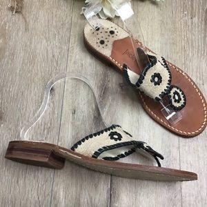 Jack Rogers Leather Thong Slide Sandals